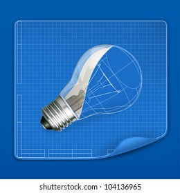 Lamp drawing blueprint, vector
