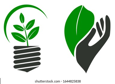 lamp and hand logo go green and renewable energy