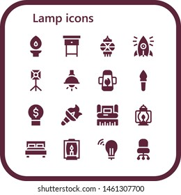 lamp icon set. 16 filled lamp icons.  Collection Of - Torch, Nightstand, Lantern, Initiative, Spotlight, Lamp, Idea, Graphic design, Double bed, Desk chair