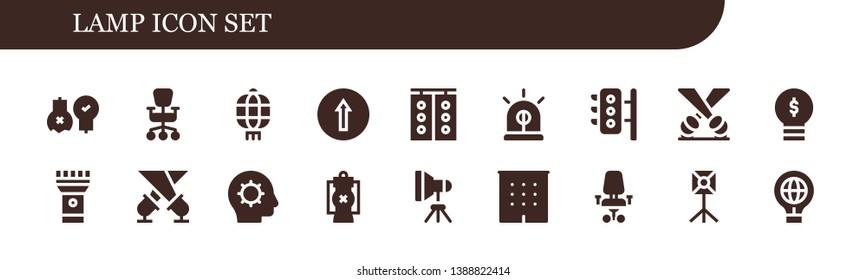 lamp icon set. 18 filled lamp icons.  Collection Of - Ideas, Office chair, Lantern, Traffic signal, Traffic light, Siren, Traffic lights, Spotlight, Lightbulb, Torch, Inspiration