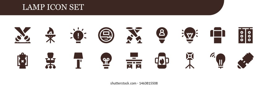 lamp icon set. 18 filled lamp icons.  Simple modern icons about  - Spotlight, Torch, Idea, Voltmeter, Sofa, Traffic light, Lantern, Office chair, Lamp, Desk