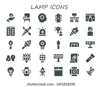 lamp icon set. 30 filled lamp icons.  Collection Of - Idea, Desk chair, Inspiration, Lantern, Desk, Traffic light, Graphic design, Siren, Torch, Lightbulb, Sofa, Spotlight, Ideas