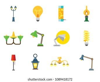 Lamp Icon Set. Heating Lamp Chandelier Desk Light Floor Lamp Fluorescent Light Lightbulb Kerosene Flashlight Green Chandelier Lava Lamp Decorative Lantern Street Torch