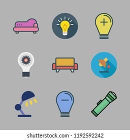 lamp icon set. vector set about sofa, idea, light bulb and lantern icons set.