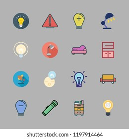 lamp icon set. vector set about furniture, nightstand, light bulb and desk lamp icons set.