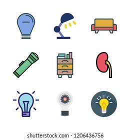 lamp icon set. vector set about nightstand, idea, desk lamp and light bulb icons set.