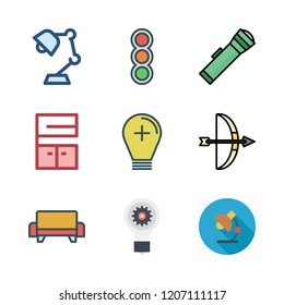 lamp icon set. vector set about light bulb, desk lamp, sofa and arrows icons set.