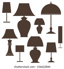 Lamp. Icon set. Vector illustration