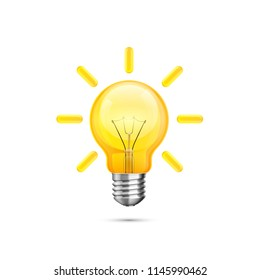 Lamp idea icon, object yellow light on a white background. Vector illustration