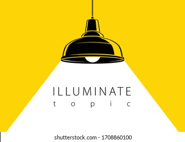 Lamp illumination vector advertising poster illustration with copy space for text, flat style template for banner, background or wallpaper.