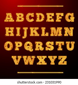 Lamp light alphabet shining letters neon retro font vector illustration