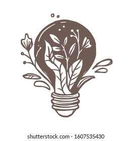 Lamp or light bulb with flowers, plants, leaves and foliage. Symbol and sign of idea, creativity and ecology. Emblem concept for illumination, solution, brainstorm. Sketch hand drawn doodle