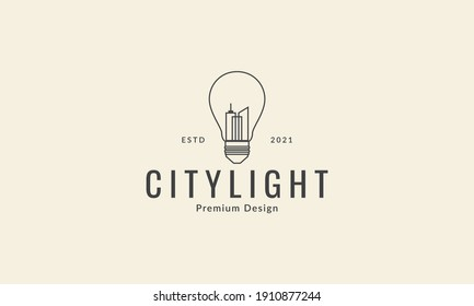 lamp light ideas with city building lines logo vector icon symbol graphic design illustration