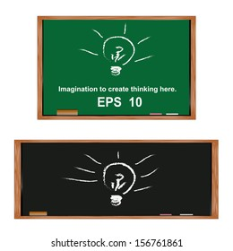 Lamp on blackboard.Generate ideas and imagination here.vector EPS10