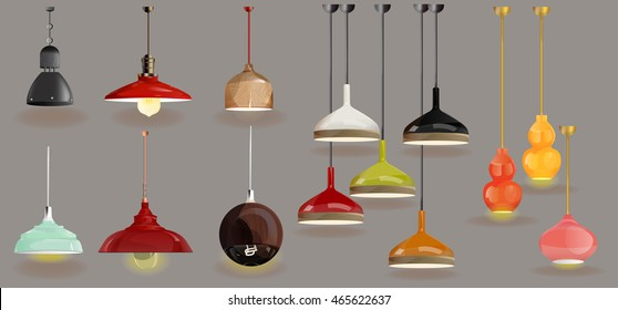 lamp on gray background.Furniture icons.Chandeliers, lamps, bulbs, luster, electrolier,illuminator.Elements of interior.Modern interior.Vector Isolated Lamp.