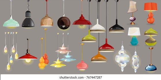 lamp on gray background.Furniture icons.Chandeliers, lamps, bulbs, luster, electrolier,illuminator.Elements of interior.Modern interior.Vector Isolated Lamp.Chandeliers big set