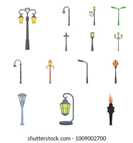 Lamp post cartoon icons in set collection for design. Lantern and lighting vector symbol stock web illustration.