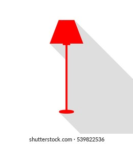Lamp simple sign. Red icon with flat style shadow path.