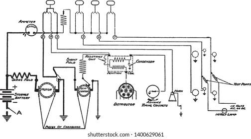 lamp testing using lamp testing set for locating short circuits, vintage  line drawing or engraving
