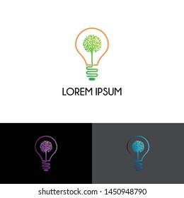 Lamp with tree logo icon design vector