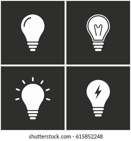Lamp vector icons set. Illustration isolated for graphic and web design.