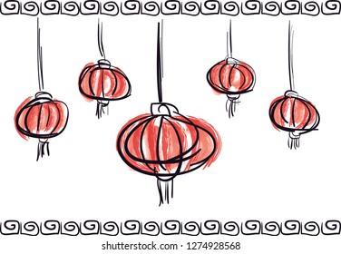 Lampion chinese lantern sketch