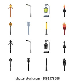 Lamppost in retro style, modern lantern, torch and other types of streetlights. Lamppost set collection icons in black,cartoon style vector symbol stock illustration web.
