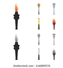 Lamppost in retro style, modern lantern, torch and other types of streetlights. Lamppost set collection icons in cartoon,monochrome style vector symbol stock illustration web.