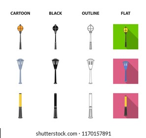 Lamppost in retro style, modern lantern, torch and other types of streetlights. Lamppost set collection icons in cartoon,black,outline,flat style vector symbol stock illustration web.
