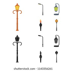 Lamppost in retro style,modern lantern, torch and other types of streetlights. Lamppost set collection icons in cartoon,black style vector symbol stock illustration web.