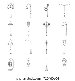 Lamppost in retro style,modern lantern, torch and other types of streetlights. Lamppost set collection icons in outline style vector symbol stock illustration web.