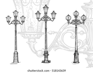 Lamppost or street lamp. Sketch vector illustration