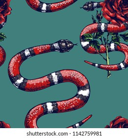 Lampropeltis triangulum and rose. Hand drawn vector seamless pattern  with coral snake, milk snake or royal striped snake and flower.