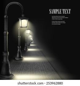 Lamps Along Paving Block Street. Vector Illustration.