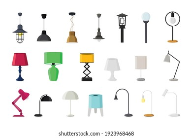 Lamps of different types collections flat style vector illustration