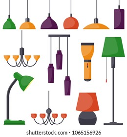 Lamps of different types, set. Chandeliers, lamps, bulbs, table lamp, flashlight, floor lamp - elements of modern interior. Vector illustration in flat style
