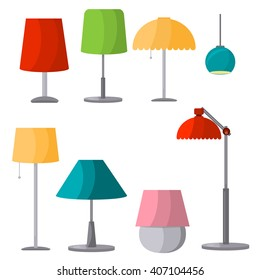 Lamps furniture set light design electric vector illustration. Electricity floor lamps and table lamps. Lamps decoration modern, classic bright lamps. Lamps energy interior equipment lantern sign.
