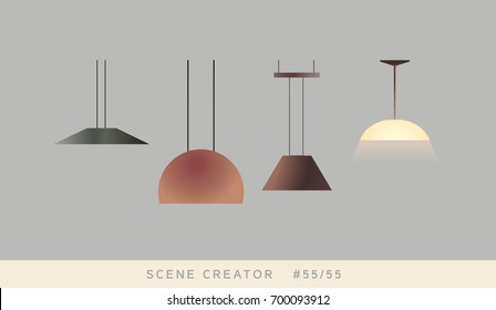Lamps. Isolated objects. Interior scene creator set.