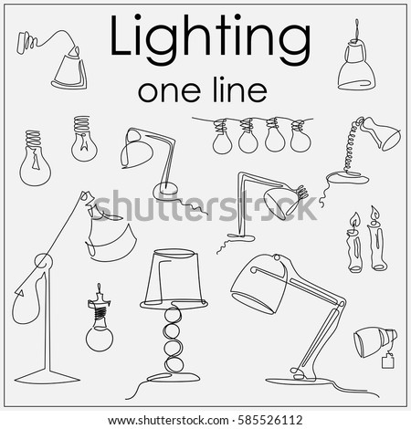Lamps Lighting Fixtures By Single Line Stock Vector Royalty Free