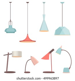 Lamps sign set for interior. Electricity floor lamp and table lamps concept. Home decoration lamp object in flat style. Vector spotlight lamp accessory, lamp icon. Table lamps, bulb decoration lamp