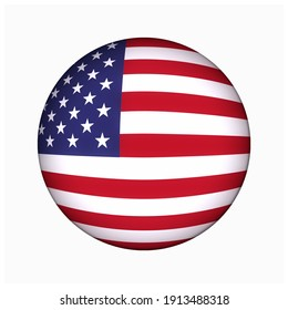 Lampung, Indonesia - February 10th 2021, Circle logo of American flag with correct hexagonal color