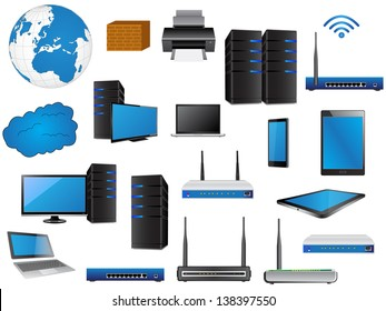 LAN Network Diagram icons Vector Illustrator , EPS 10. for Business and Technology Concept.