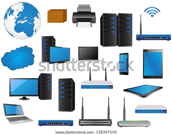 lan network diagram icons vector illustrator stock vector (royalty free)  138397550  shutterstock