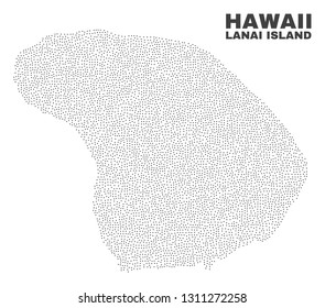 Lanai Island map designed with little points. Vector abstraction in black color is isolated on a white background. Scattered little points are organized into Lanai Island map.