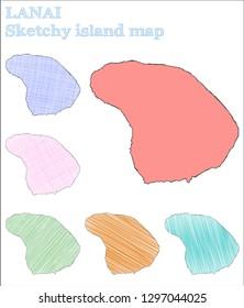 Lanai sketchy island. Alive hand drawn island. Amusing childish style Lanai vector illustration.