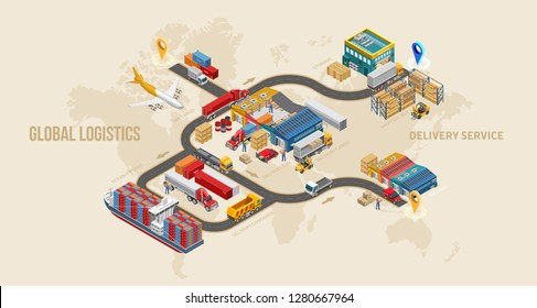 Land delivery scheme with global logistics system step by step over world map. Different types of delivery service transport — container carrier, cargo plane, truck. Isometric warehouse exterior.