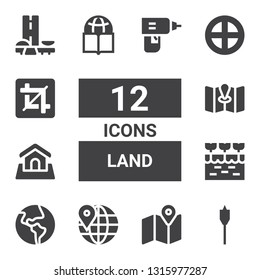 land icon set. Collection of 12 filled land icons included Auger, Map, Worldwide, Globe, Farm, Land, Terra, Crop, Brazil, Drill
