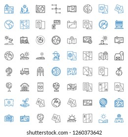land icons set. Collection of land with map, field, globe, earth globe, earth, drought, fertilizer, barn, planet earth, tractor, farmer, farm house. Editable and scalable land icons.