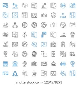 land icons set. Collection of land with map, farmer, drought, globe, tractor, field, barn, farm house, fertilizer, earth globe, planet earth. Editable and scalable land icons.