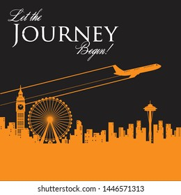 land mark for travel poster and postcard let the journey begin  - Shutterstock ID 1446571313